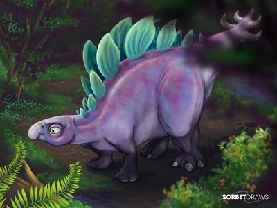 Sophie The Stegosaurus museum extinct cretaceous jurassic world jurassic park jurassic forest procreate illustration character design the good dinosaur pixar sophie fossil stegosaurus dinosaur