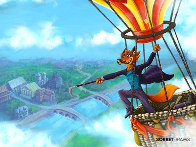 Filleas Foxx procreate character design character design challenge travel hot air balloon adventurer jules verne around the world in 80 days fox character illustration
