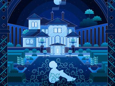 Cerulean Gardens design moon overgrown night son affinity affinitydesigner lyrics illustration geometric san fermin song vector house garden cerulean