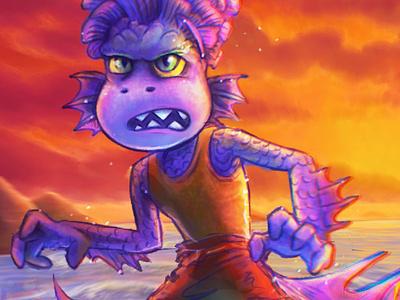 Sea Monster! albertoscorfano alberto conceptart procreate illustration character keyart colorstudy disney pixar luca