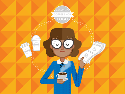 SpeadBrand Services Characters - Graphic Design agency graphic design orange blue illustration packaging logo cafe menu coffee shop barista coffee