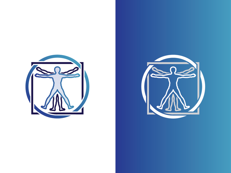 Vitruvian Man design logo anatomy circle square vector illustration icon davinci man vitruvian
