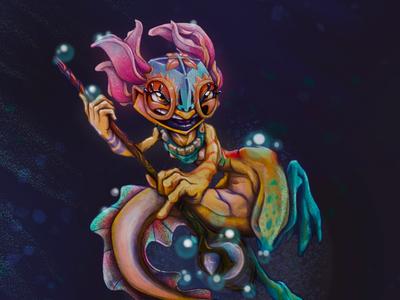 Magi Pearl - CDC Axolotl Adventurer illustration fantasy bubbles staff wand underwater water magic reptile amphibian lizard adventure adventurer axolotl character design challenge character design character