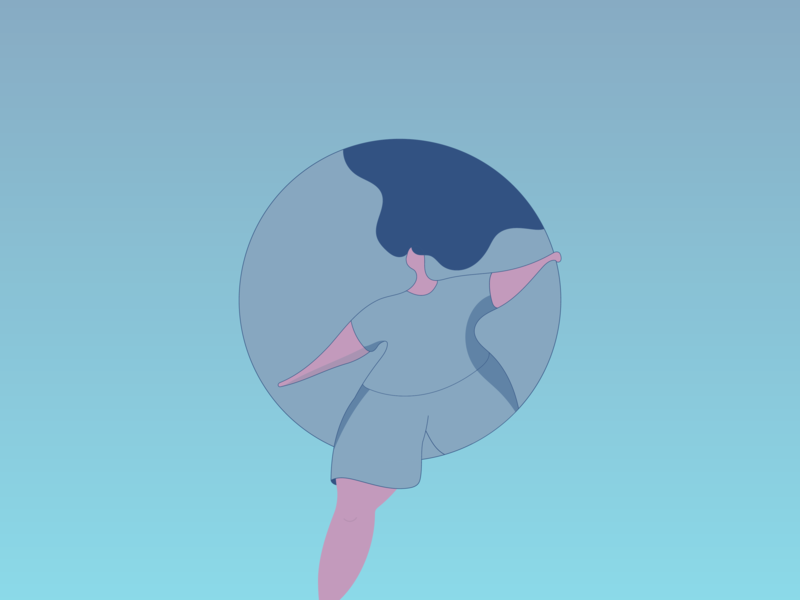 in a bubble 2 girl minimal vector design illustration