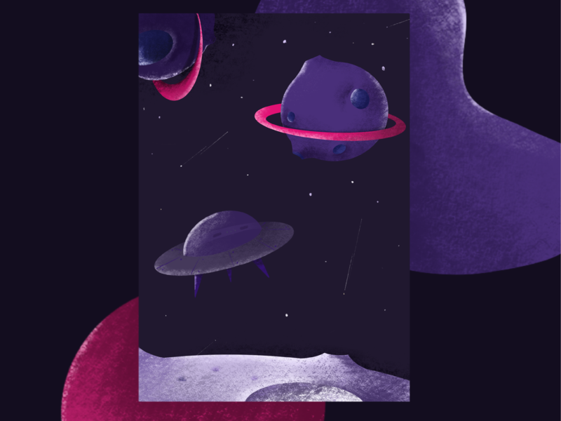 outer space ufo planets procreateapp drawing violet colors space illustration