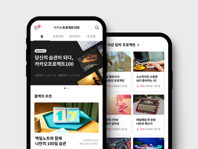 Kakao Project100 mobile web branding product design ux ui