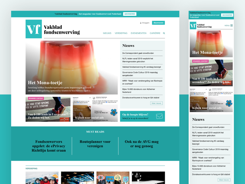 New Vakblad Fondsenwerving website stories magazine news subscription charities fundraising design client work template homepage site responsive html css crm cms website procurios