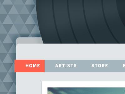 Vinyl In The Header triangles navigation blur grey orange music pattern