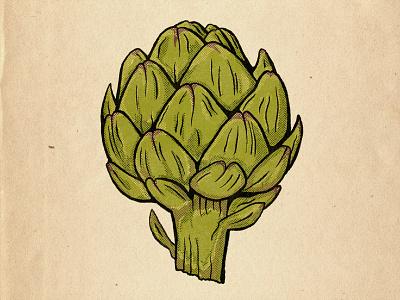 Eat your greens! vegetable artichoke vintage lowbrow halftone line art illustration brush pen