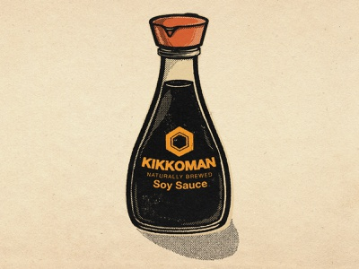 Kikkoman Soy Sauce food illustration soy sauce kikkoman retro lowbrow vintage line art illustration halftone brush pen
