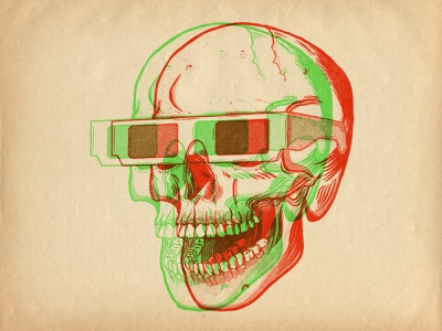 Stay at home, watch movies 3d glasses 3d anaglyph skull retro lowbrow vintage line art illustration halftone brush pen