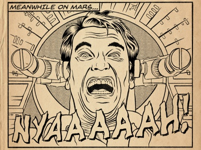 Meanwhile on Mars... total recall arnold schwarzenegger portrait retro lowbrow halftone vintage line art illustration brush pen