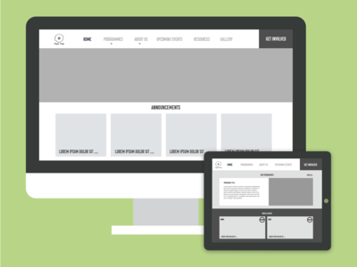 Home Page Wireframes