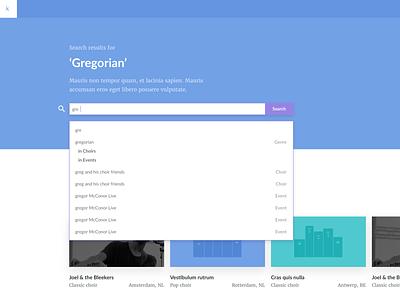 Artists Search Result UI website app ux ui flat design