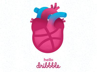 Dribble Debute first shot love heart invite grain illustration hello debute