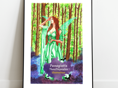 Forest Green Fairy: Original A4 Artwork fairy art fairy fantasy art handmade color pencils illustration