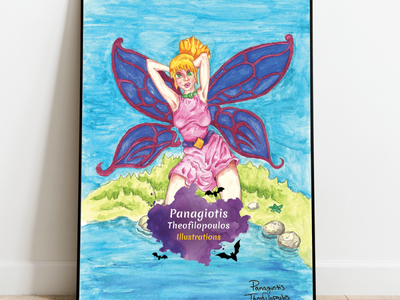 ButterFairy: Original A4 size Artwork fantasy art fairy illustration