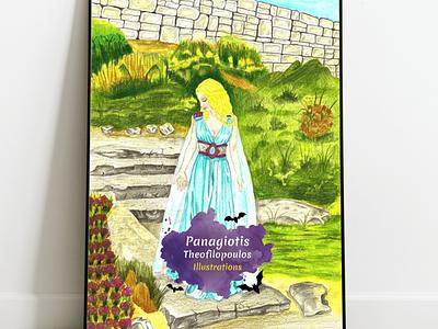 Blue Princess: Original A4 Artwork artwork handmade fantasy art princess illustration