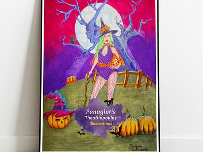 Halloween Witch: Original A3 size Artwork pumpkins halloween witch fantasy fantasy art illustration