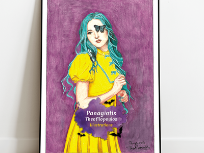 Lady Yellow Original A4 Artwork lady girl butterfly illustration