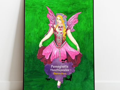 Purple Fairy Original A4 Artwork fantasy fantasyart artwork fairies illustration purple fairy
