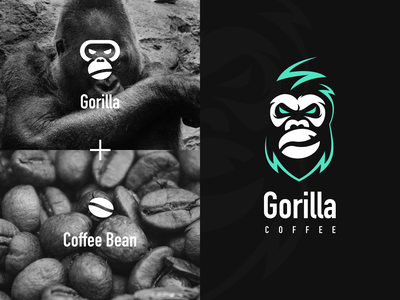 Gorilla Coffee logo idea gorilla ape chimpanzee kingkong logo design icon devinwang