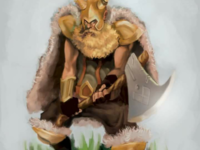 Viking with a axe illustration