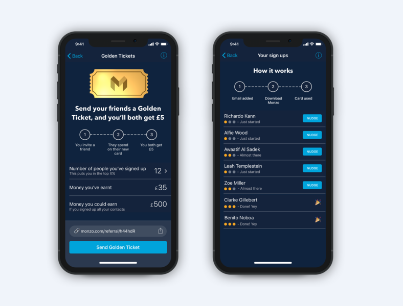 Golden Tickets are better than ever fintech leader board nudge leaderboard tickets golden money referral banking monzo