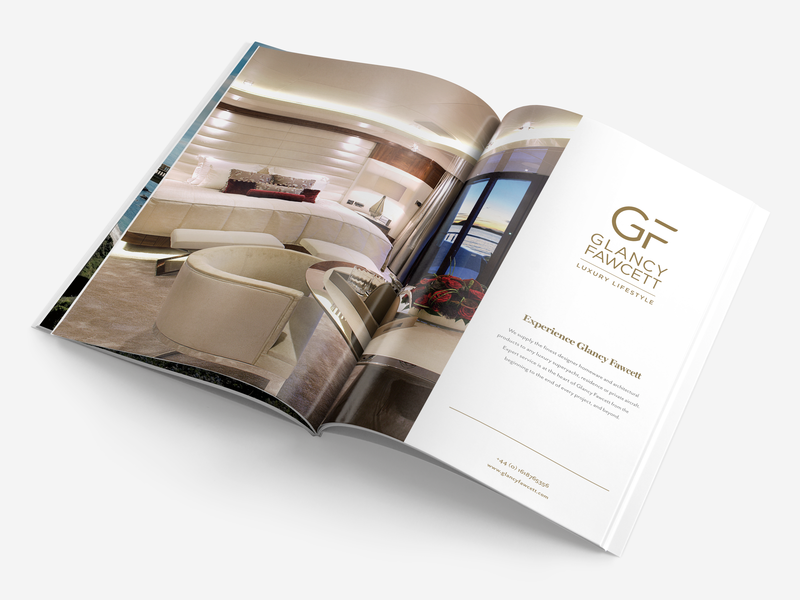 GF: Double page spread magazine design magazine ad page layout page design pages advertise advert linen interior travel high end yacht home lifestyle luxury magazine spread page double design