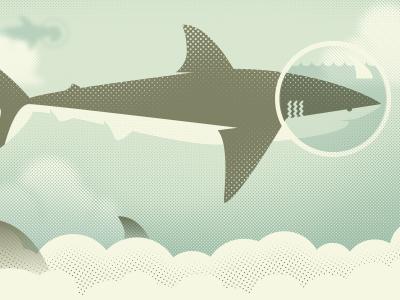 All Sharks Go to Heaven sharks screenprint silksreen clouds illustration