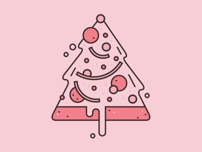 'Tis the season to be saucy. christmas holiday illustration vector christmas tree pizza