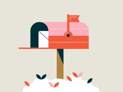 Mailbox shrub mail illustration vector mailbox