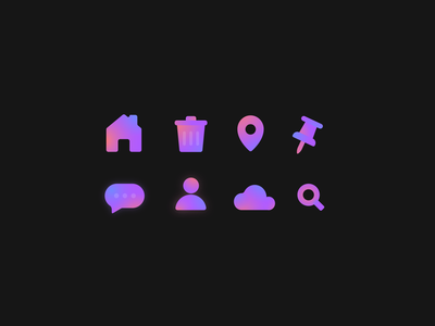 Icon collection 1 message icon icon set cloud icon pin icon trash icon home icon iconography icon collection icons illustraion badge logo colourful gradient colorful glow simple icon design ui icon