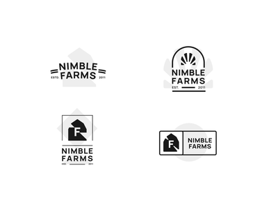 Nimble Farms Logo Set concept farm logo nimble farm typography monochrome black and white simple logo minimalistic modern simple logo design design branding icon logo
