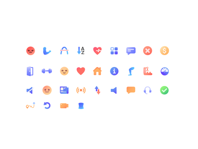 Pocket Rocket Icon set icon design workout icon pack visual identity brand simple minimalistic illustration modern design gradient iconography icon