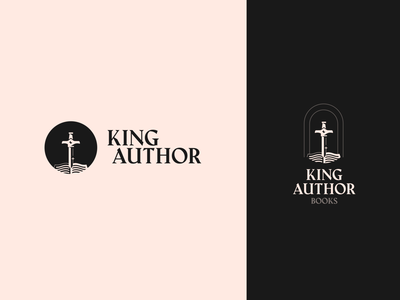 King Author Books Logo Proposal black logo design proposed logo publishing author book sword king arthur serif branding logo