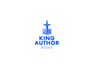 King Author Books Logo Proposal #2 sword publishing book king arthur blue modern logo minimalistic illustration simple modern design branding gradient icon logo
