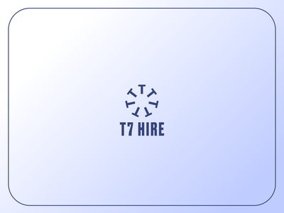 T7 Hire Proposal Logo icongraphy blue and white navy blue industrial logo industrial hire construction minimal modern logo minimalistic simple logo logo design simple modern design gradient icon branding logo