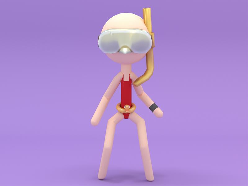 Stickman Swimsuit girl game design 3d 3d art cinema 4d new 3d illustration