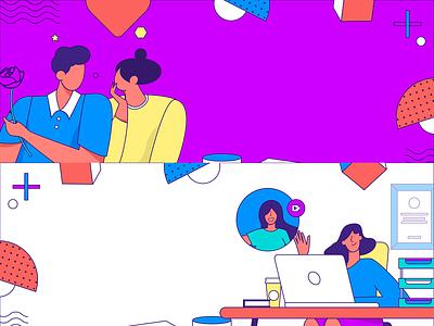 work cooperation invite invite friends redbag gift ui color branding vector flat creative work man woman illustrate llustration