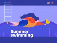 Summer Swimming Fitness Woman Vector