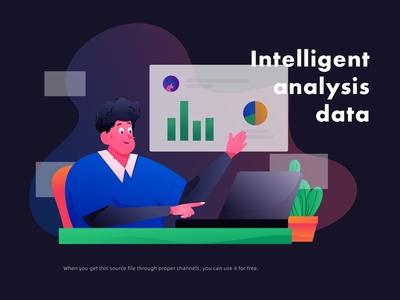 Seriously working men work intelligently analyzing data