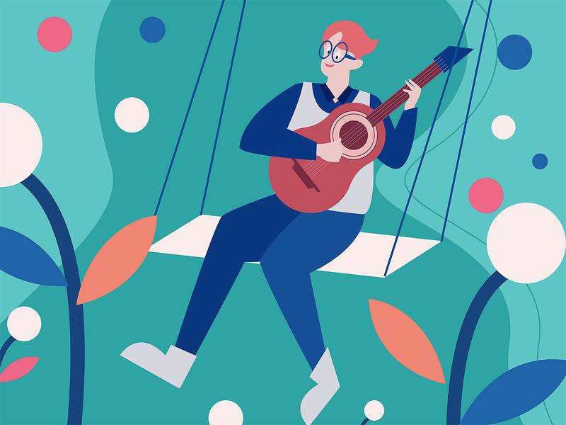 illustration of happy boy swinging playing guitar happy guitar swinging creative color branding vector flat illustration design
