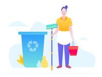 Cleaning girl carries garbage sorting