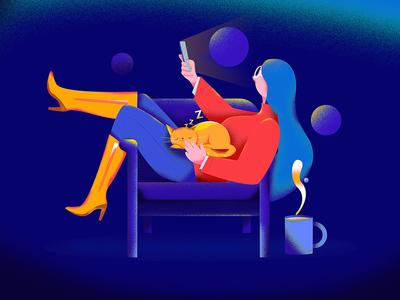 Girl playing cell phone on sofa