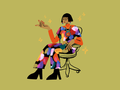 Kitkat Queen woman of color woman sitting sit office desk girl color line art drawing design ipad procreateapp illustration fashion leah schmidt leahschmidt leahschm portrait