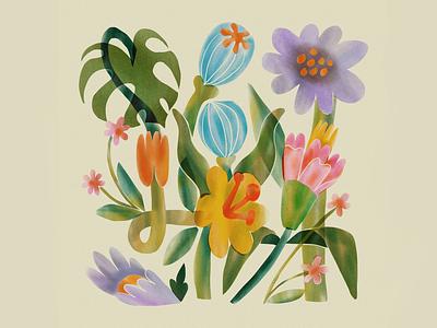 Pastel Flowers spring tulip daisy garden graphic color line art design floral design drawing ipad procreate illustration leah schmidt leahschm leahschmidt flowers floral