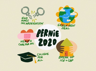 Vote for the Future college medicare healthcare health care for all green new deal sustainability earth color art drawing illustration icons leah schmidt leahschmidt leahschm election president berniesanders bernie bernie2020