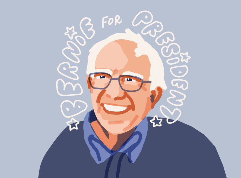 Bernie2020 color line art drawing design portrait art president illustration portrait leahschmidt leah schmidt leahschm berniesanders bernie bernie2020