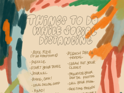 Social Distancing drawing illustration abstract lettering color digital paint design art list to do list leahschmidt leah schmidt leahschm social distancing socialdistancing corona covid19